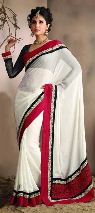 White wedding saree.