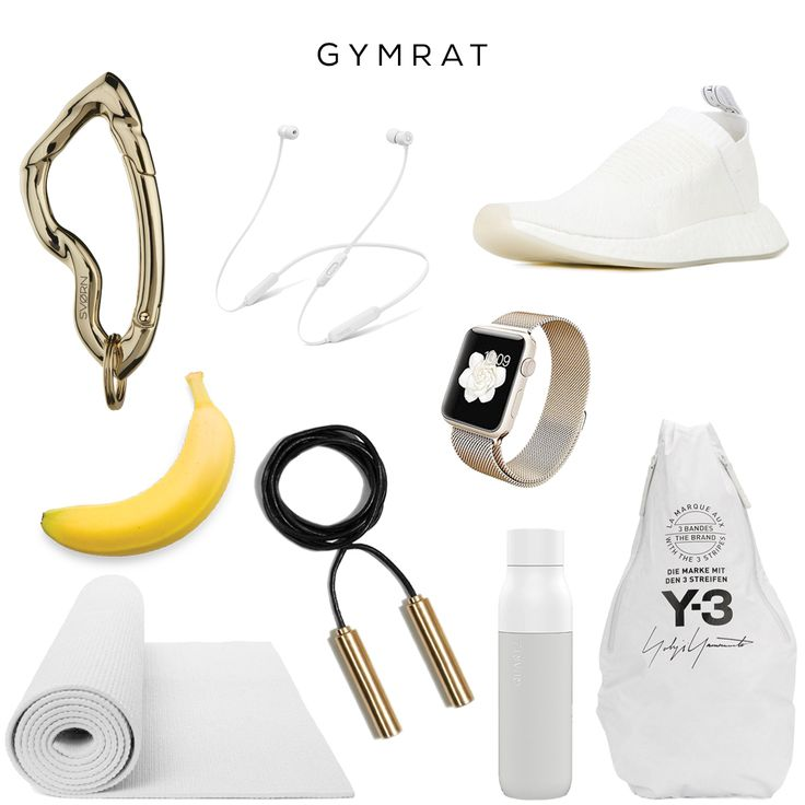 Gym Rat (women)  Clockwise (starting from top left): Arcus carabiner keychain in Arctic Gold by SVORN, BeatsX Earphones by APPLE, NMD_CS2 Primeknit sneakers by ADIDAS, Watch by APPLE, ~Cross body strap Backpack by Y-3, Water Bottle by QUARTZ, Jump Rope by ALEXANDER WANG, White Yoga Mat, Banana by your local grocery store  #sneakers #y3 #adidas #accessories #bagcharm #keychain #gym #apple #gadget #training #gymrat #train #sweat #sports #gymtime #gymlife #streetwear #streetstyle #yoga #watch