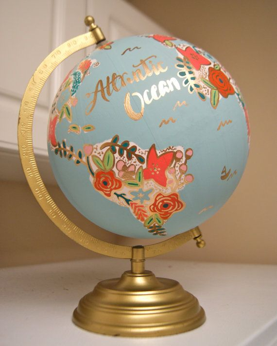 "Custom 12"" Globe terrestre, carte de fleur de fleurs peintes, or Stand, main"