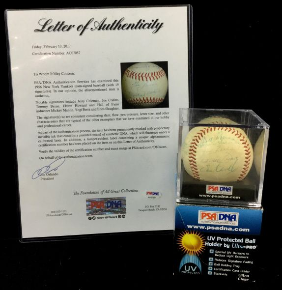 1956 New York Yankees Team Autographed Baseball SOLD $600