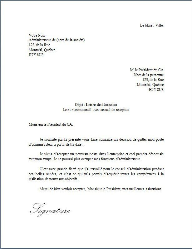 Lettre De Demission D Un Administrateur Docutexte Lettre De Demission Lettre De Recommandation Exemple Lettre Motivation