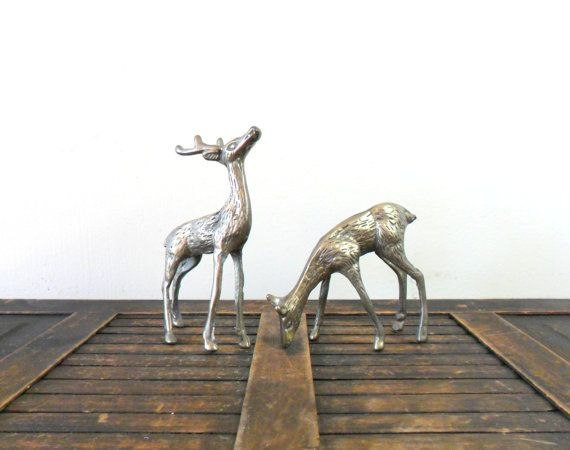 vintage spotted brass deer figurines  midcentury  by compostthis on Etsy ... ......I'm dreaming of....#white #Christmas #holiday #decorations #snow #fire_place #Santa #winter #presents #gifts #cooking #love #gingerbread #Christmas_tree #lights #wine #hot_chocolate .. www.morseandnobel.com