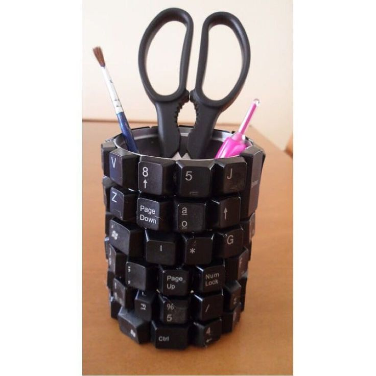 pencil holder made out of an old key bored #netandtidy