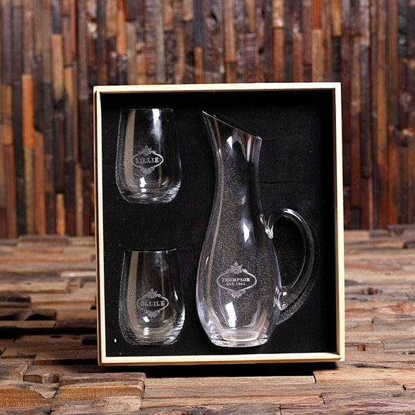 Personalized Wine Decanter Set and Stemless Wine Glasses Wedding Gift Set, His and Her Gifts, Housewarming Gift by TealsPrairie on Etsy https://www.etsy.com/listing/467257630/personalized-wine-decanter-set-and