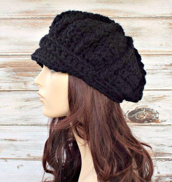 Crochet el sombrero de las mujeres de sombrero negro vendedor