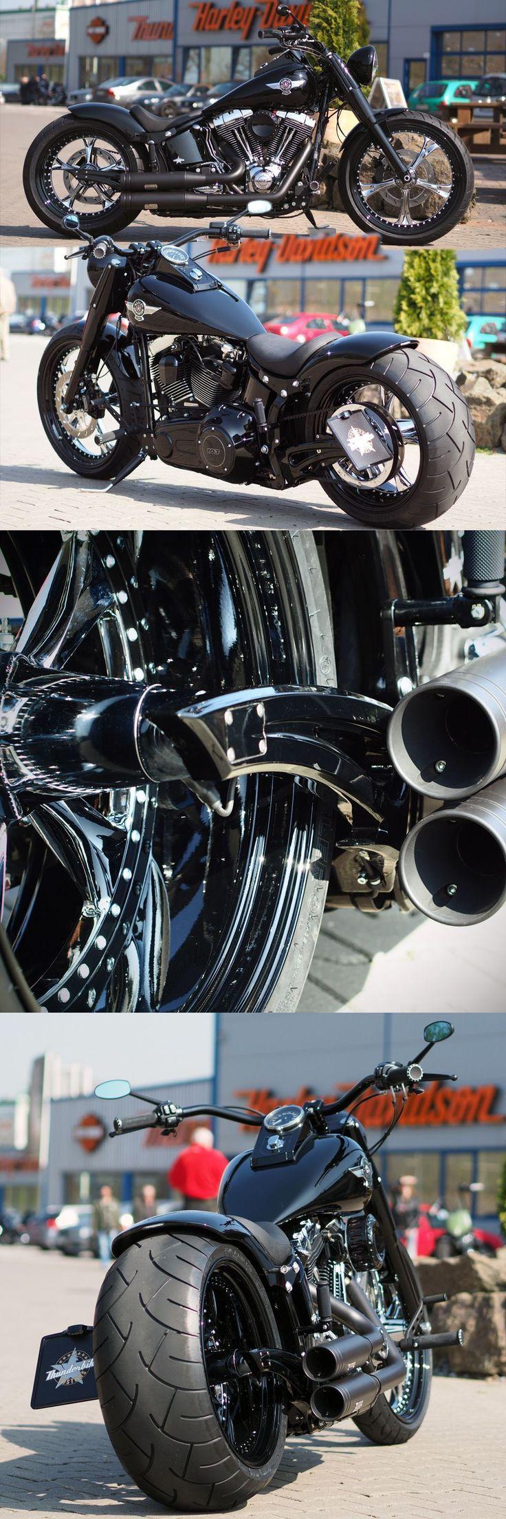 Thunderbike customized Harley-Davidson Fat Boy So dope ! #harleydavidsongirlspictures #harleydavidsonbikes #harleydavidsonchoppersawesome