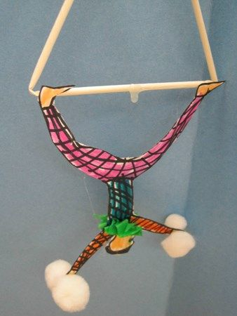 Kindergarten circus acrobats art project - make more elaborate with painted curtains and a background