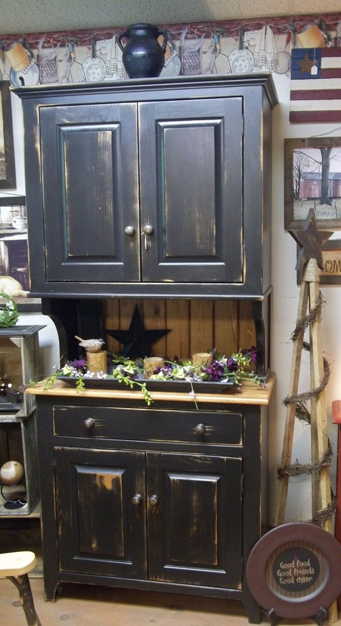 Black Distressed Hutch Made By Wayne Avery