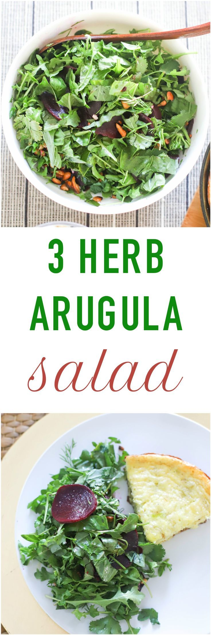3 Herb and Arugula Salad is a vibrant salad with fresh herbs, peppery arugula, simple vinaigrette, and crunch from fried cashews! The recipe is naturally gluten-free, it can be adapted for vegans as well. Serve as a side salad or a refreshing lunch.