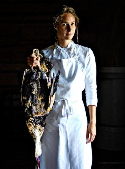 The fair and the fowl: Marie Aline at Fäviken, with a duck supplied by a local known as (of course) Mr. Duck.