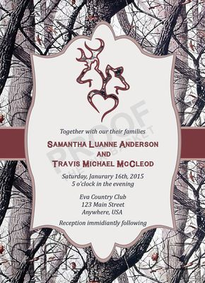 Winter Camo Deer Head Country Wedding Invitations by TheInkBasket