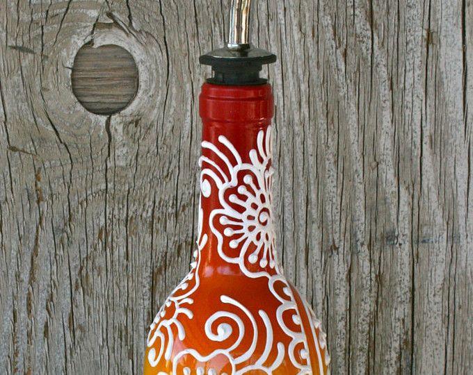 Arco iris de aceite de oliva o vinagre dispensador de botella de vino re-purposed