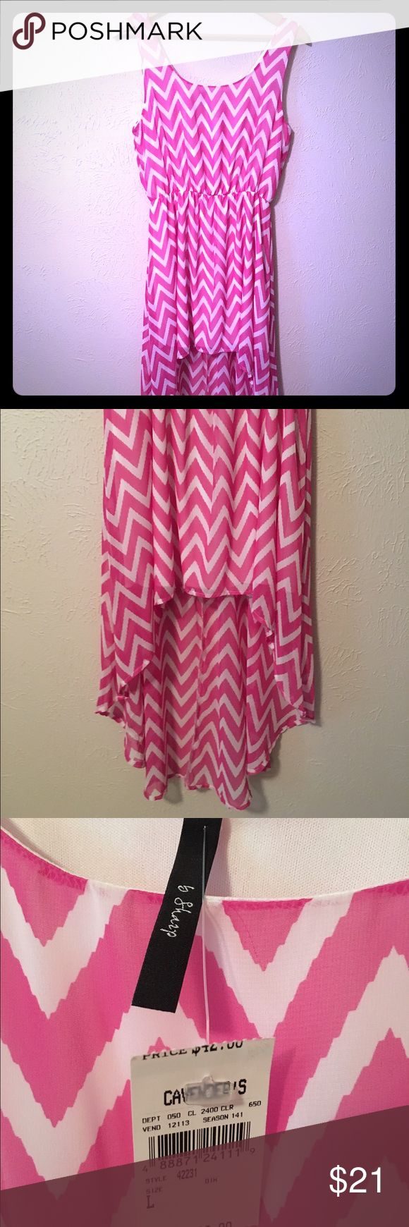 Chevron Summer Dress Pink and white chevron dress. Hits above the knee in the front and to the calf in the back. Top layer is sheer with a built in white slip. Dresses Asymmetrical