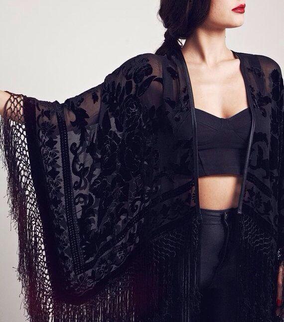 Velvet fringe kimono The Black Rose by SheVamps on Etsy