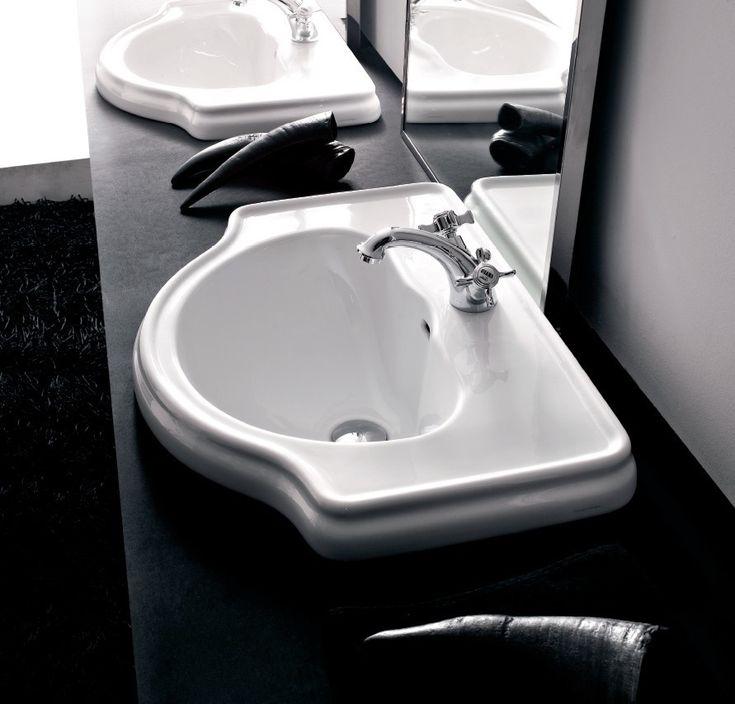 KERASAN Retro Umywalka wpuszczana w blat 62 x 45,5 cm biała 1030
