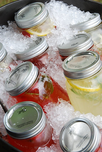 """Strawberry Basil Lemonade was a real show stopper. Everyone dug around in the ice to find the """"pink"""" jars.Basil Lemonade, Summer Parties, Parties Drinks, Cute Ideas, Blue Eye, Parties Ideas, Mason Jars, Strawberries Basil, Party Drinks"""