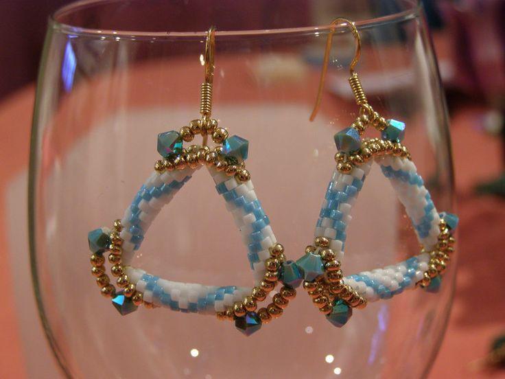 Dangle Earrings – Turquoise gold triangle earrings – a unique product by DarkEyedJewels on DaWanda