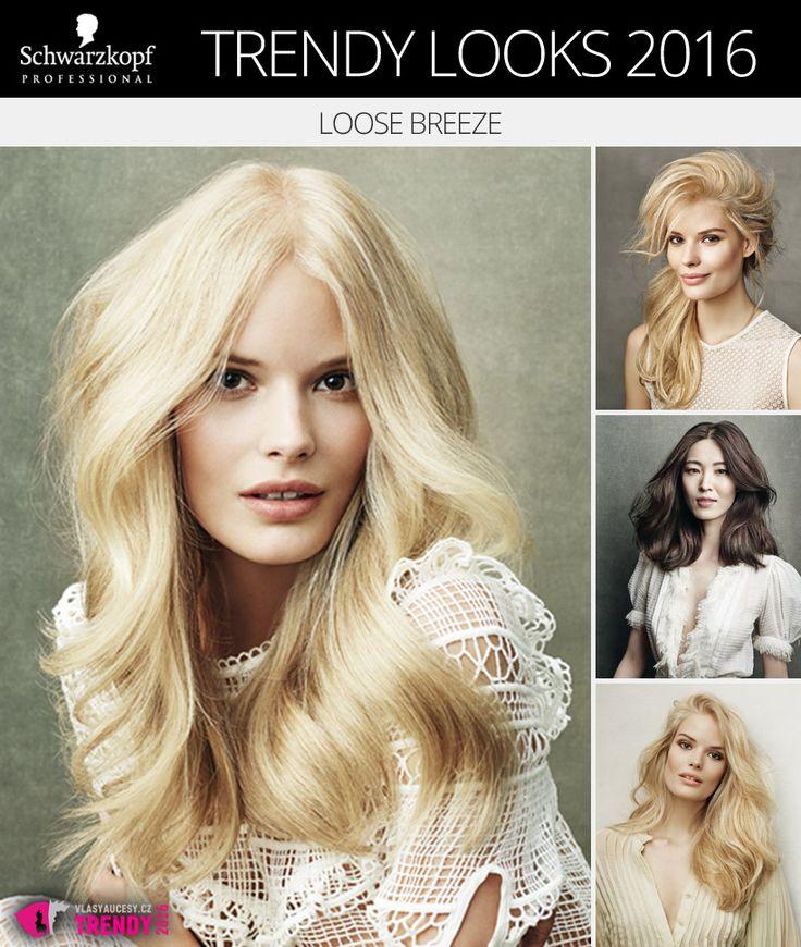 Schwarzkopf Trendy Looks 2016 č. 1: Loose Breeze. Nové účesy Schwarzkopf si hrají s lehkostí stylingu dodávajících vlasům unikátní objem.