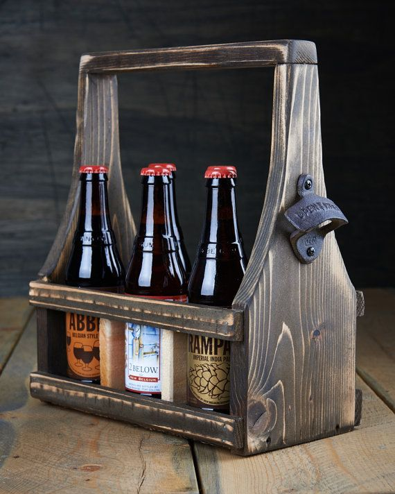Handmade Beer Carrier Beer Tote Wooden Craft Beer Natural Reclaimed Reused Cedar Wood Dark Espresso Stain with a Soft Curve 6-12 oz bottles on Etsy, $39.99