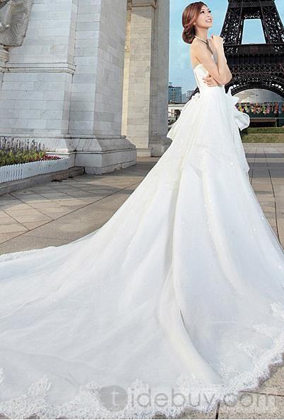 豪華なAライン床長さ恋人チャペルトレーンウェディングドレス