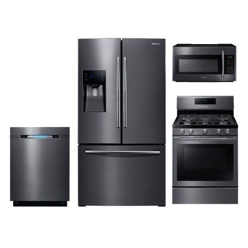 SUG-KIT Samsung Black Stainless Steel Gas Kitchen Appliance Package #HomeAppliancesPackaging #HomeAppliancesStainlessSteel