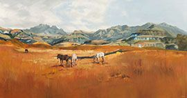 Horses Of The Drakensburg - Large Oil Painting by Janna Prinsloo