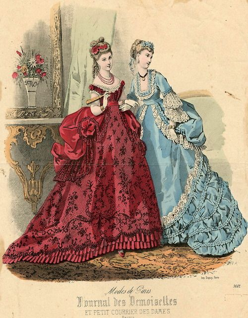 Note the resurgence in Rococo-style sleeves.>> Fashions of 1869