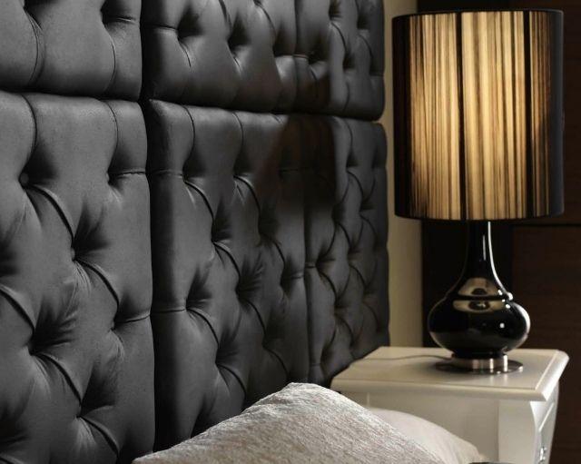 wandplatten gesteppt gepolstert schwarz schlafzimmer - futuristische buro einrichtung mit metall 3d wandpaneelen