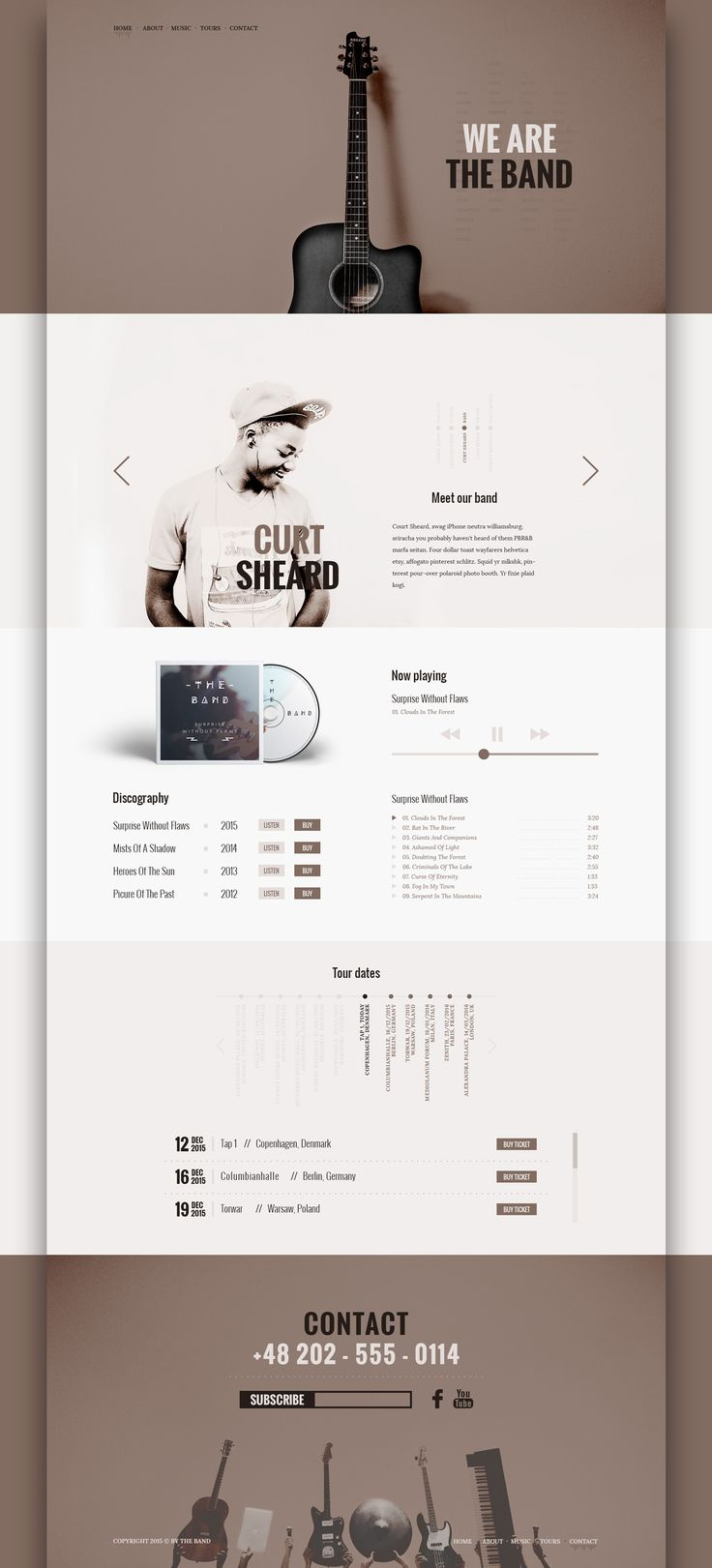 The band is a free, clean and trendy PSD Template. It's made for a lot types of websites, specially music related websites - for the band, musicians and so on. Use it however you want! :)