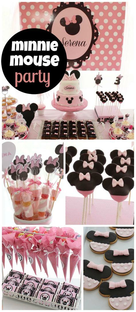 A pink Minnie Mouse girl birthday party with fantastic cake pops, cookies and cake! See more party planning ideas at CatchMyParty.com!