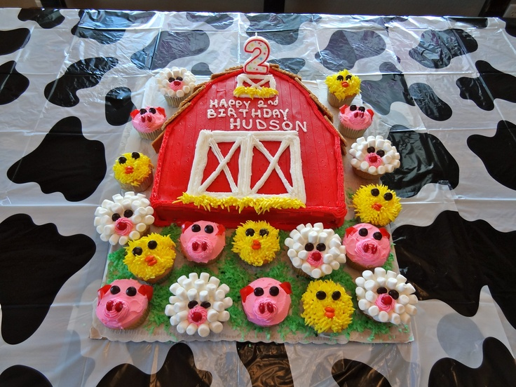 Farm Barn cake.  Red fruit by the foot for the boards (on top of red icing). Love the idea of separate animals for cupcakes!
