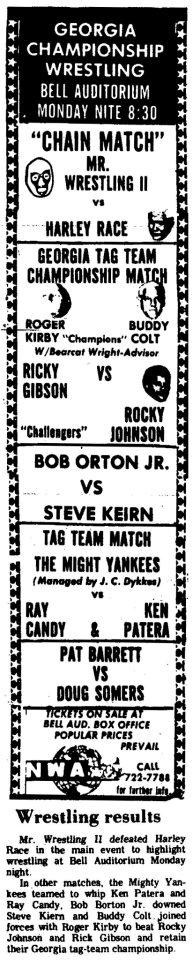 Mr. Wrestling 2 takes on Harley Race in a chain match at Augusta, Georgia's Bell Auditorium