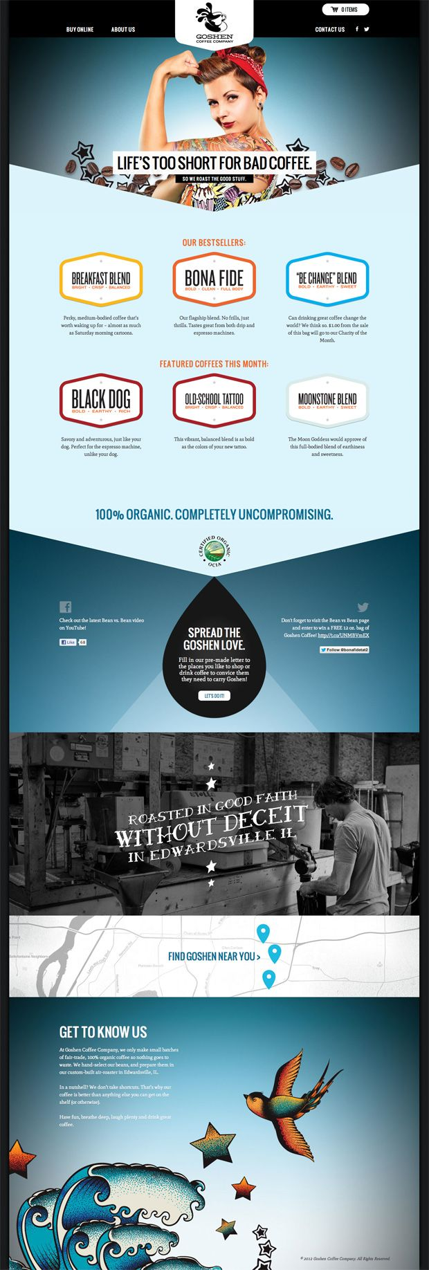 Goshen Coffee website design, Atomic Dust