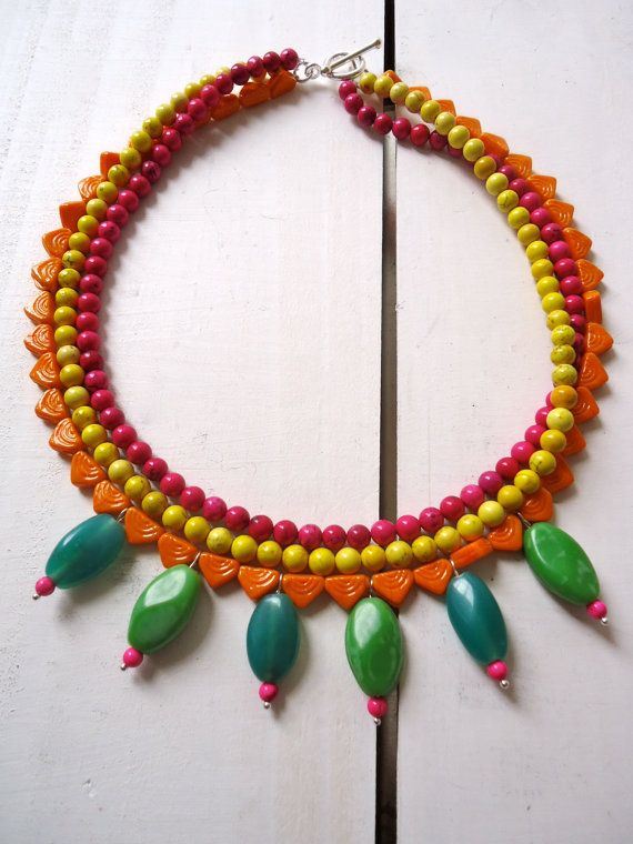 Sunset Colour Clash necklace in glass and semi by CustardFox, $33.00