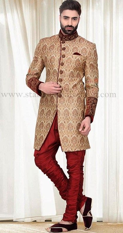 gold sherwani, sherwani uk, Asian clothes, designer wedding indowestern, Indian sherwani, sherwani indo western, groom sherwani, mens wedding attire www.statusindiafashion.com