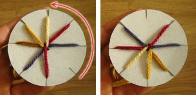 Making a disc for easy friendship bracelet braiding on the go (think roadtrip boredom buster)