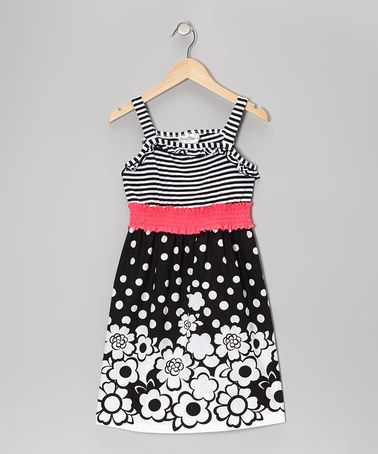 Take a look at this Black Stripe Floral Dress - Girls by Rare Editions on #zulily today!