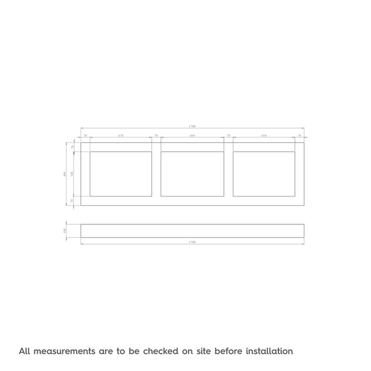 Dimensions for The Bath Co. Camberley satin grey wooden straight bath front panel 1700mm