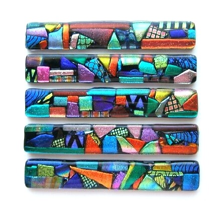 """Custom """"My Picasso"""" dichroic fused glass liner tiles. These glass decorative tiles can also be cabinet door handles."""