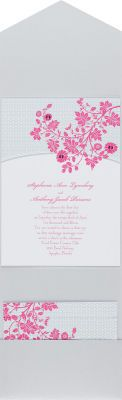 Michaels.com Wedding Department: Trellis Pocket Invitation Introduce your wedding in garden-fresh style with this Jean M invitation's stainless trellis and fuchsia floral vine design. The white card is printed with your wording in your choice of two Michaels designer colors and two lettering styles. To learn more or personalize this invitation,