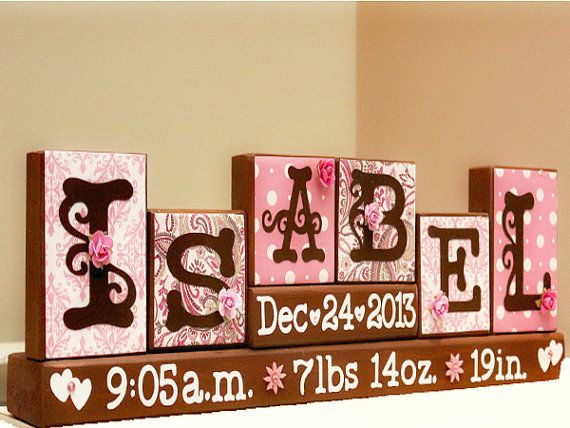 Personalized Baby Name Blocks Unique Gift Nursery Decor Birth Stats Keepsake Letter Family Pinterest