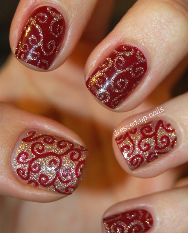 Red and gold holiday nail art | Nail | Pinterest