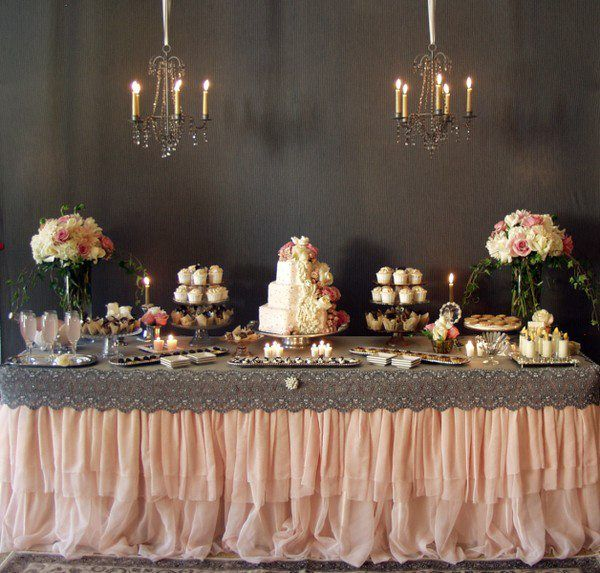 Blush Cream and Vintage Lace dessert table! Simply Elegant Platinum Wedding Magazine