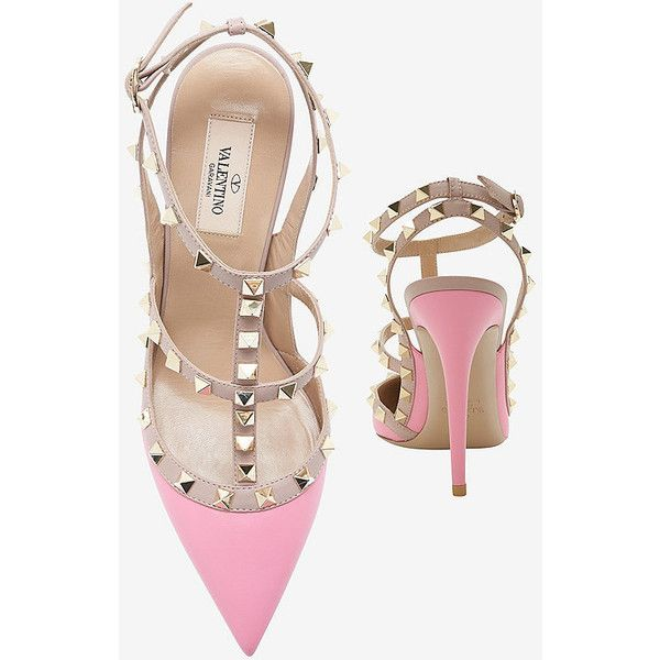 Valentino Rockstud Cage Pump: Bubble Gum Pink (3.555 BRL) ❤ liked on Polyvore featuring shoes, pumps, heels, pointed toe shoes, pink pumps, pointy-toe pumps, pink pointy toe pumps and caged shoes