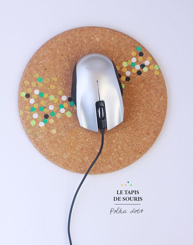 Tapis de souris {DIY} TAPIS DE SOURIS POLKA DOTS