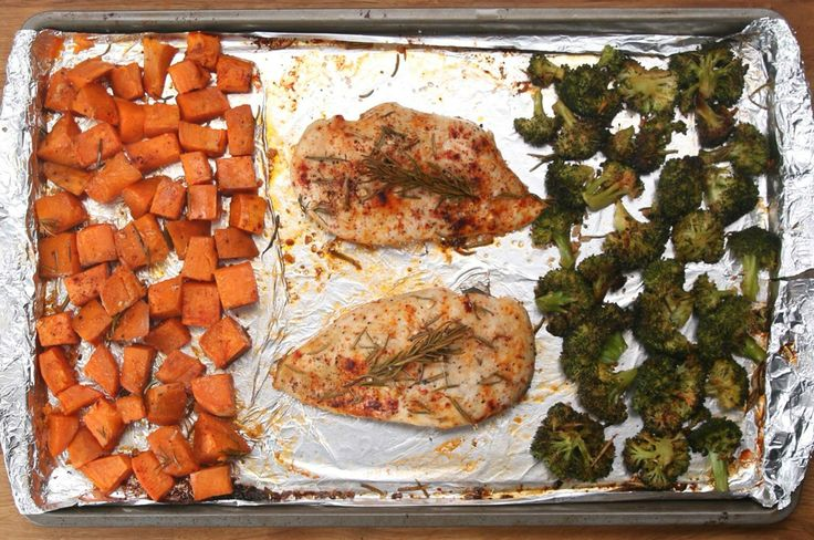 Servings: 2 What You'll Need: Chicken Breasts - 2 boneless, skinless Sweet Potato - 1 large, diced Broccoli - 1 head or large bag of broccoli florets Garlic - 4 cloves minced Rosemary - 2 Tbsp Paprika - 1 Tbsp Salt and Pepper Olive Oil - 2 Tbsp Directions: Line a baking sheet w aluminum. Lay out the sweet potato, chicken breasts, & broccoli. Evenly the garlic, rosemary, paprika, s/p over the entire pan. Drizzle olive oil. Bake @ 400°F (35-40min) juices run clear when chicken is done.