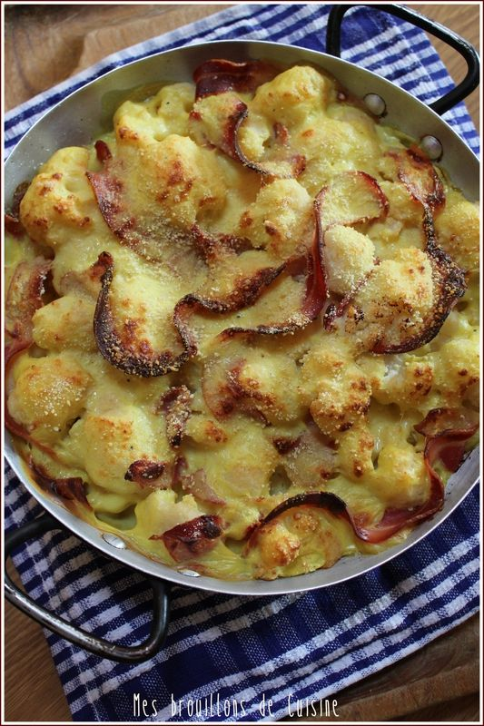 """""""Confort food"""" : Gratin de chou-fleur à la pancetta et au curry - """"Mes brouillons de cuisine !"""""""