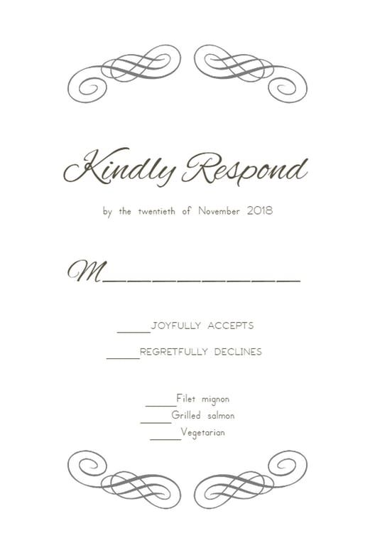 Free Rsvp Card Template Decorative Detail  Printable Response Card Templateclick To Find .