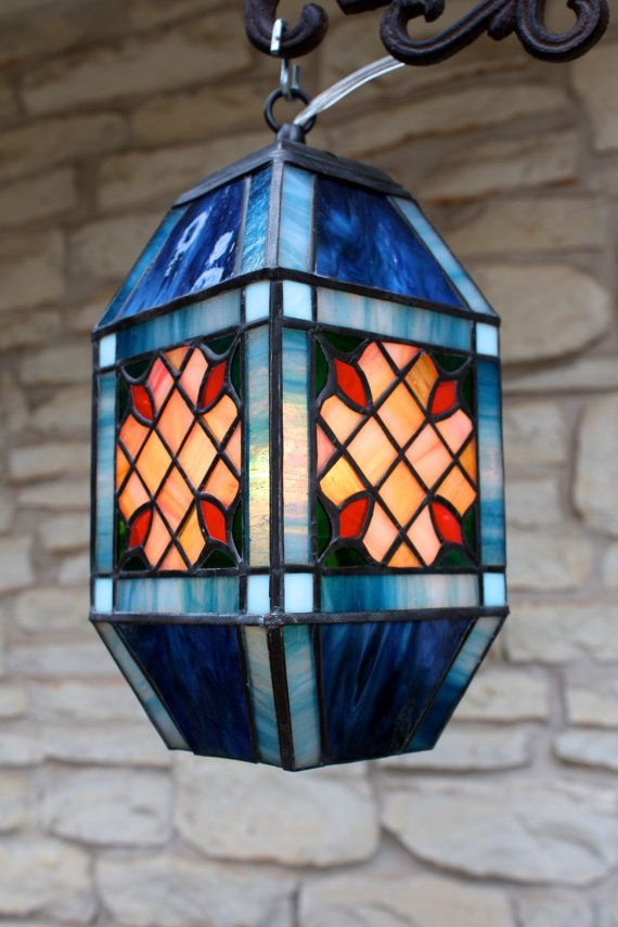 Blue Carriage Lamp