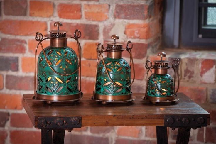 Cape Craftsmen Pack of 3 Art Deco Pierced Copper Floral Cut-Out Teal Decorative Lanterns 11.5